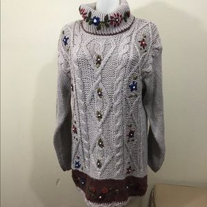 Bobbie Brooks Hand Knitted Sweater Beige Sz Medium